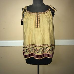NWOT Intermix Love Sam Mustard Yellow Tie Tank Top